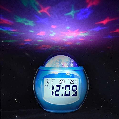 KMKM Despertador, La Estrella del Cielo del Proyector Ligero Dormitorio De La Lámpara Reloj Despertador...