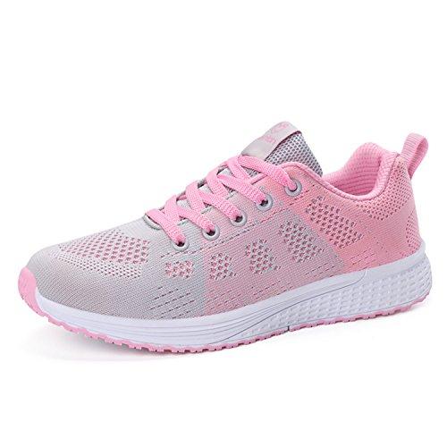 Damen Sportschuhe Laufschuhe Leicht Mesh Atmungsaktiv Turnschuhe Schnürer Sneaker Damenschuhe Rosa 38