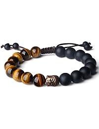 10mm Bracelet Bouddhiste Perles de Prière Onyx Noir Mat Œil de tigre Tête de Bouddha Bronze Cordon Ajustable Fait À la Main Unisexe