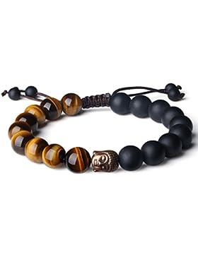 COAI® 10mm Geschliffener Onyx und Tigerauge Bronefarbiges Buddha-Zubehör mit Handgefertigter Verstellbarer Schnur...