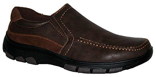 Coussin pour homme Walk léger, Casual Chaussures, antidérapant sur et sangle barre velcro Marron - brown slip on