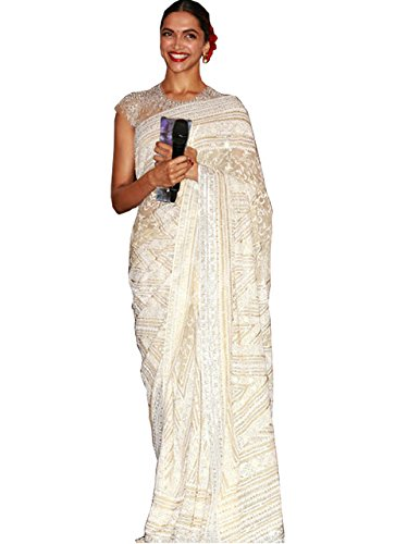 Deepika Padukone Georgette White Saree  available at amazon for Rs.2125