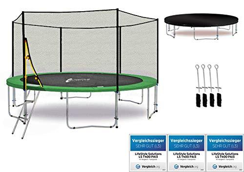 LifeStyle ProAktiv LS-T430-PA14 (G) Trampolino da giardino 430cm - incl. Rete di sicurezza 130g/m² - New