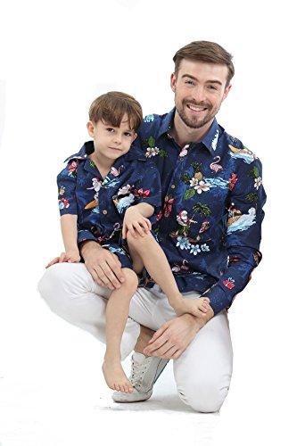 Passender Vater Son Hawaiian Luau Outfit Weihnachtsmann-Hemd Nur Jungenhemd Marine Santa Flamingo M-14