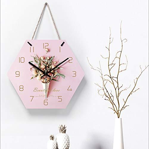 Xinqing Kreative Mode einfache Lanyard wanduhr, acryl Material rosa Hexagon stumm Uhr, Wohnzimmer Schlafzimmer Studie Bad wanduhr (30 * 36 * 5 cm) du verdienst es zu haben
