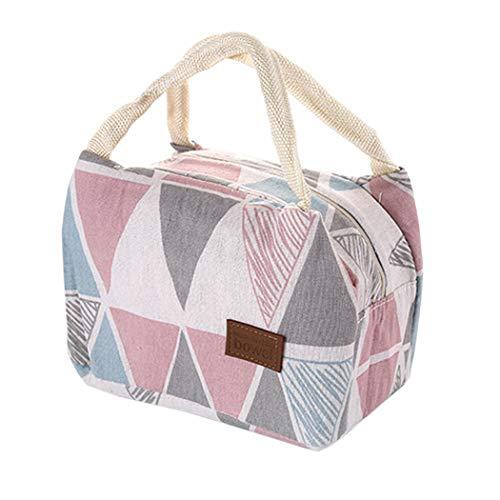 Oplon Wasserdichte Isoliertasche Kühltasche Picknicktasche Eistasche Campingtasche Lunchtasche Mittagessen Tasche aus Leinen für Kinder,Mädchen,Frauen (Typ1-1)