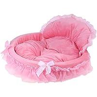 Seawang Cama De Perro Pequeño Lavable, Camas Ovales para Mascotas Estampado De Encaje Princesa Cachorro