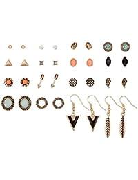 """SIX """"Basic"""" Damen Ohrstecker, 16er Ohrring Set, goldene Stecker & Hänger, Pfeil, Flügel, Feder Weihnachtsgeschenk (429-667)"""