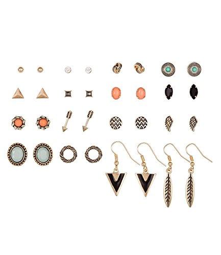 SIX Ohrringe im Set: 16 modische Ohrstecker, diverse Motive Pfeil/Feder/Flügel/Knoten-Design, ideal zum Verschenken, schwarz goldfarben (429-667) -