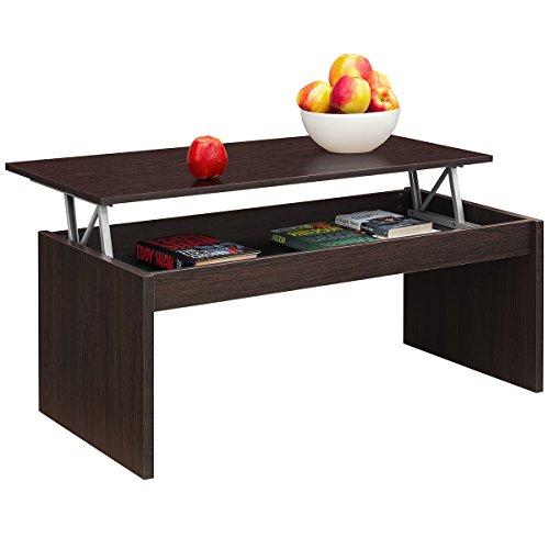 Comifort Table basse relevable moderne pour salle à manger ou salon 1,02x 50,2x 43/52 cm