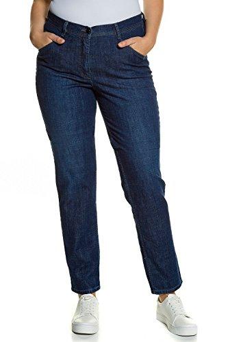 Ulla Popken Damen große Größen bis 60 | Jeans, Stretchdenim | 5-Pocket-Form, Straight Leg | Biobaumwolle | darkblue 54 712574 93-54 (Gerades Jeans Size Plus Bein)