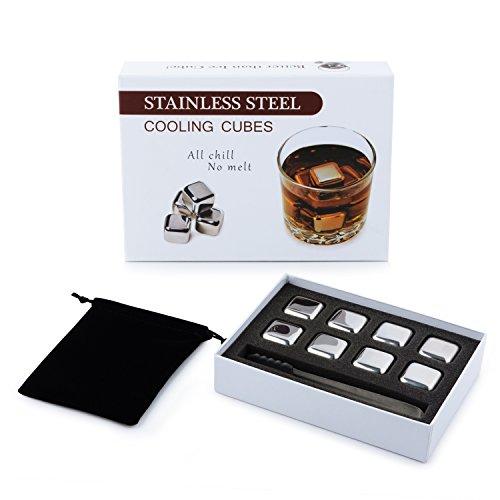 DRAGONN Whisky Steine Ice Cubes Set – 8 Wiederverwendbare Edelstahl Eiswürfel - Stoffbeutel | 8er Set Whiskey Rocks Stones