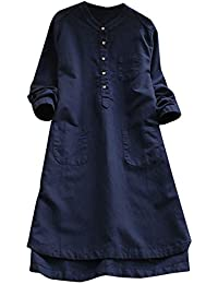 5dd460bf5cf Women s Casual Long Sleeve Shirts Dress Loose Round-Neck Plaid A-Line  Cotton Linen Mini Dresses Tunic Tops Plus Size…