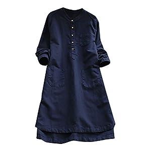 Langarmshirts Kleid für Damen Elegant Kleider Blusenkleid Shirt-Kleid Minikleid Langarmkleid Strandkleid Lose Freizeitkleid Frauen Baumwolle Leinen Partykleid Freizeit Cocktailkleid