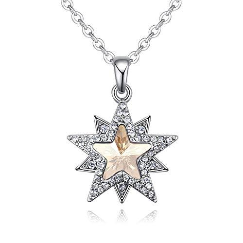 Wtdlove collana con elementi in cristallo, regalo di anniversario di san valentino gioielli ciondolo stella