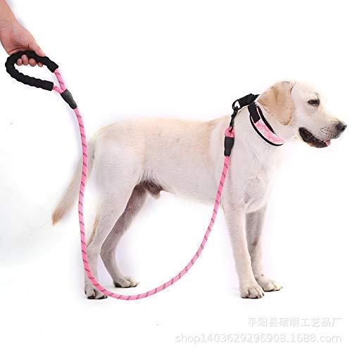 MMMDAN123 Haustier liefert reflektierende Multi-Color Runde Seil Hund Traktion Seil Hund Kette Hund ziehen Gurt Bequeme ziehen Hände große Hund verwenden 150 x 12 breit Pfirsich rosa -