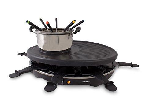 Suntec Wellness RAC-8458 Raclette-Fondue-Set, 2 in 1 Set für bis zu 8 Personen, Aluminium-Grillplatte mit Edelstahl-Fonduetopf 1,4 L, Gabeln plus Spatel, maximal 1200 W