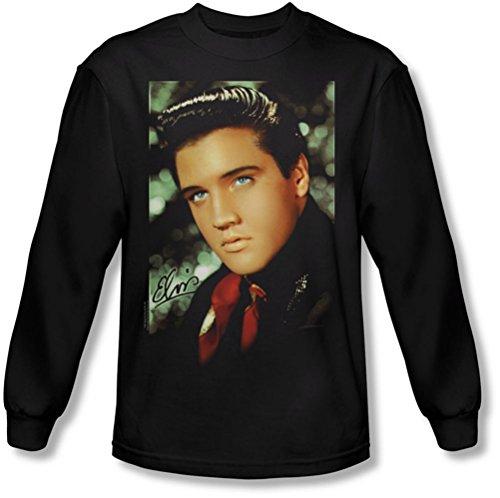 Elvis Presley - Herren Red Scarf Langarm-Shirt in Schwarz, Large, Black (Elvis Sweatshirt)
