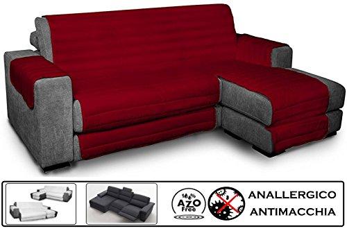 Biancheria&casa copridivano angolare con penisola antimacchia per divano con chaise longue relax : colore - bordeaux, misura - 240 cm.