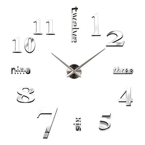 Fulltime(TM)-3D DIY Reloj de Pared Digital Creativa Decoración del Hogar Oficina de Moda (Plata)