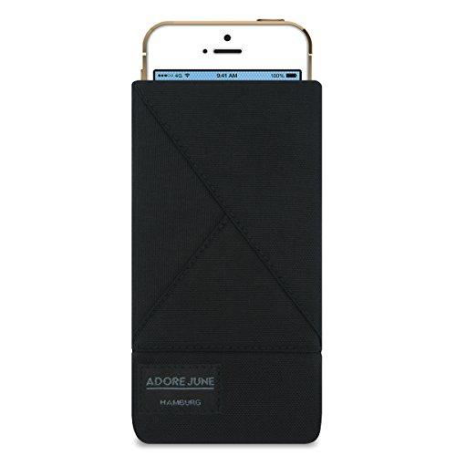 """iPhone SE Hülle, iPhone 5s Hülle, Adore June Schutzhülle """"Triangle"""" original Cordura Textil-Stoff, Tasche Handytasche für Apple iPhone SE, iPhone 5s, iPhone 5 mit Display-Reinigungseffekt in schwarz"""