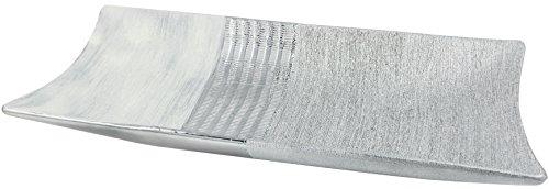 Brubaker moderne Deco Bol rectangulaire Porcelaine Blanc Argent 39 cm