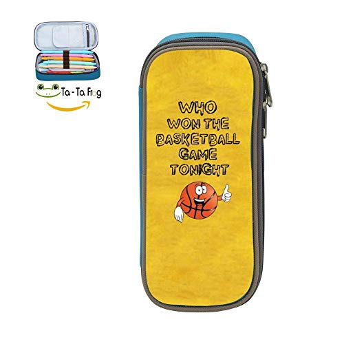 Custom Who Won The Basketball Game Tonight Pencil Case - Big Capacity Double Zipper Multifunctional Blue Stationery Bag for Girls Boys