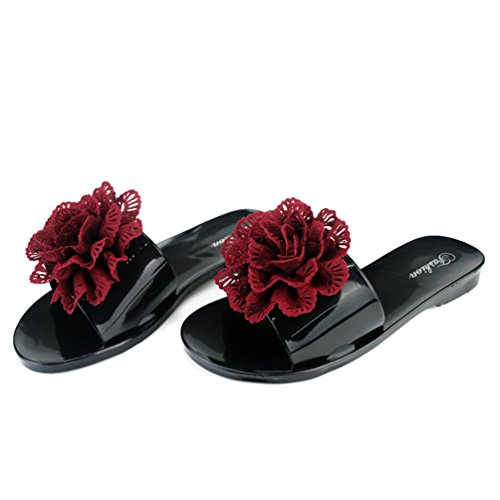 Womens Open-Toe Slides Sandale Custom Böhmische Blume Strand Pantoffeln Slip auf Flache - Frauen Erde-schuh-sandalen