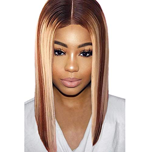 Mypace Blond Lang Glatt Für Männer Damen Natural Mix Colors Gradient Long Curly Synthetic Wig Full Wig Front Wig