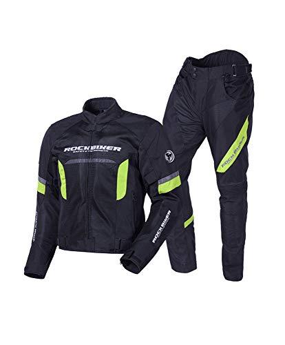 nnn Giacca Moto Uomo Giacca Corsa Impermeabile Mesh Traspirante Abnehmbare Schutzausrüstung,Blackgreen-XL