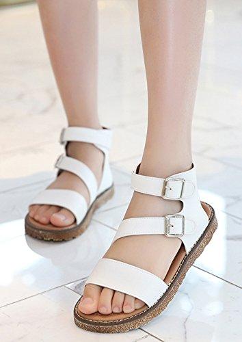 Wealsex Sandales Spartiates Fille Femme Plates Brides Cheville Boucle PU Cuir Blanc