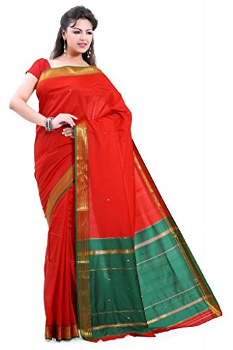 ISHIN Poly silk Paithani Red Saree-STCS-24  available at amazon for Rs.799