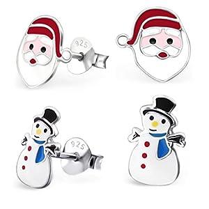 2 Paar Nikolaus Schneemann Ohrringe für Mädchen 925 Echt Silber Ohrstecker Kinder Weihnachtsgeschenk