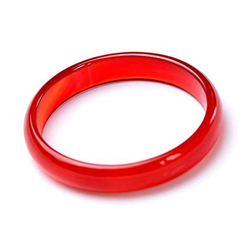 KALRTO Natürliche Rote Jade Stein Armband, Feine Rote Achat Chalcedon Armband, Feine Abschnitt Der Engen Ice Red Jade Armband, Weibliche Hand Ornament, Geschenk 60-62mm (Jade Rot)