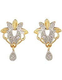 SKN Silver And Golden American Diamond Dangle & Drop Alloy Stud Earrings For Women & Girls (SKN-3357)