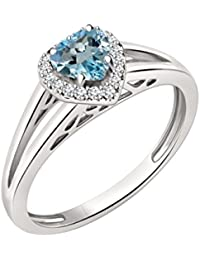 Silvernshine 7mm Heart Cut Topaz & Sim Diamond Halo Engagement Ring In 14K White Gold Plated