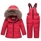 JiAmy Tuta da Sci Bambino Piumino con Cappuccio + Pantaloni da Sci, 2 Pezzi Tuta da Neve Snowsuit Caldo Invernale Salopette Giacca Cappotto Pantaloni da Neve, Rosso 4-5 Anni