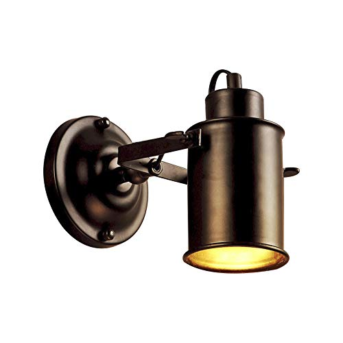 GOL LED Rustikale Wandleuchte Lampe, 5W Warmes licht Wand-leuchten Eisen Mattschwarz Wandbeleuchtung Spotlight Für Schlafzimmer Bett] Korridor-Warmes Licht -