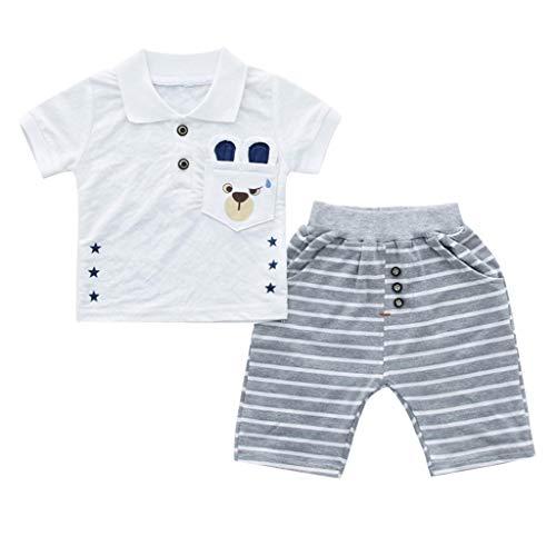 JUTOO Kleinkind Kind Baby Jungen Mädchen Brief T-Shirt Tops + Streifen Shorts Outfits Set (Weiß 2,100/12)