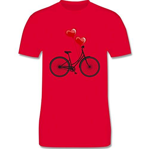 Vintage - Fahrrad Herz Luftballons - Herren Premium T-Shirt Rot