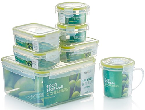 Zoë&MII Premium 7 Piece Smart Lock, Lid, Plastic,Food Containers, Lunch Boxes,Clip Lid,Meal Prep Container, Soup Mug, Airtight, Takeaway, Food Storage Containers