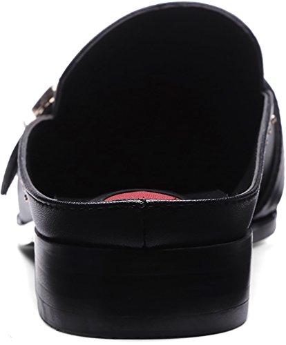Calaier Femme Casuch 2CM Bloc Glisser Sur Mules et sabots Chaussures Noir