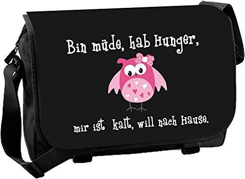 Messenger Bag Schultasche Studententasche Schultertasche - Bin müde, hab hunger mir ist kalt. (Schwarz)