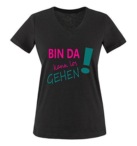 Comedy Shirts - Bin da kann los gehen! - Damen V-Neck T-Shirt - Schwarz / Pink-Türkis Gr. L