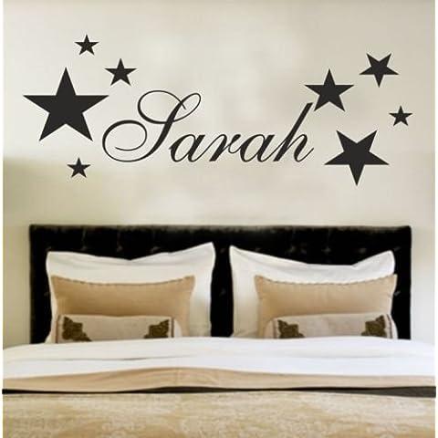 stickerart2011su nombre personalizado pared arte pegatinas niños estrellas, dorado, Large - 120cm x