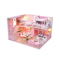 JMcall® 3D Wooden Dollhouse Furniture DIY Miniature Model Christmas Gifts Toys Best Crafts-Fashion Library Playset-Creative Birthday Gifts for Women and Girls(Color:Multicolor A,Material:Wood)