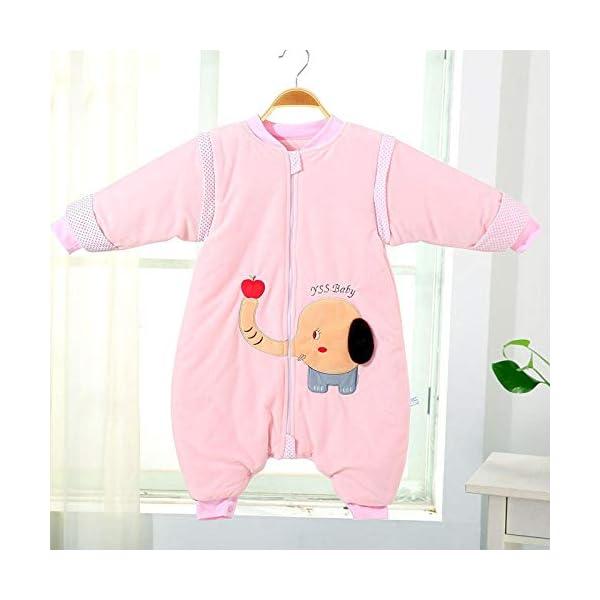 Saco de dormir para bebé con piernas divididas, pijama para niños pequeños, algodón, otoño e invierno, siamés, doble propósito, anti-patada, saco de dormir unisex de manga larga, 6-18 meses