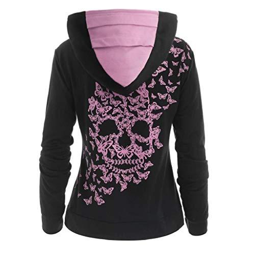 Damen Hoodie Pullover Kapuzenpullover Schmetterling Skull Print Langarm Sweatshirt Jacke Mantel Outwear Kapuzenpulli Kontrastfarbe Pullover Lose Gothic Rollkragen Sweatshirt Tops Pulli Jumper Bluse - Schmetterling-print-rock