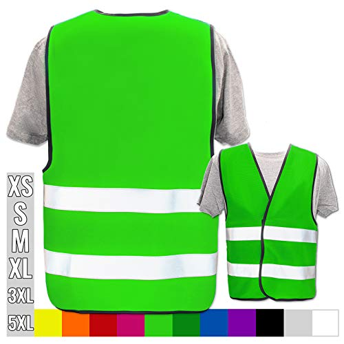 Warnweste Bedruckt mit Ihrem Name Text Bild Logo * echte Reflex-Leuchtstreifen * personalisiertes Design selbst gestalten, Farbe + Größe:Neon Grün (3XL/4XL), Warnweste Druckposition:Ohne Druck