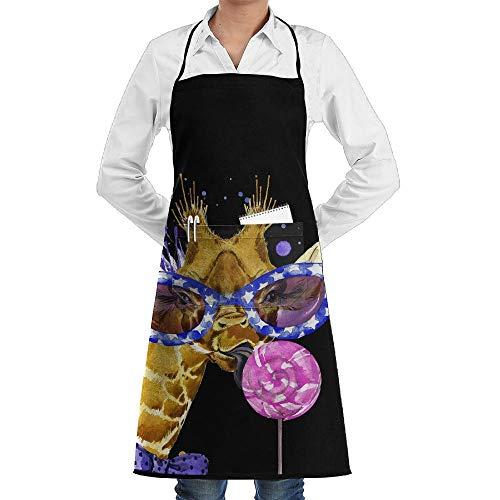 Pillowcase Wholesale Watercolor Giraffe with Sunglasses Men & Women Bib Chef Kitchen Apron with Pockets